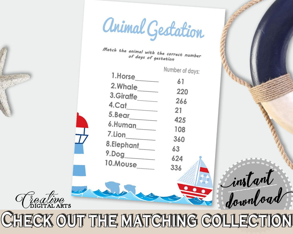 Animal Gestation Baby Shower Animal Gestation Nautical Baby Shower Animal Gestation Baby Shower Nautical Animal Gestation Blue Red DHTQT - Digital Product