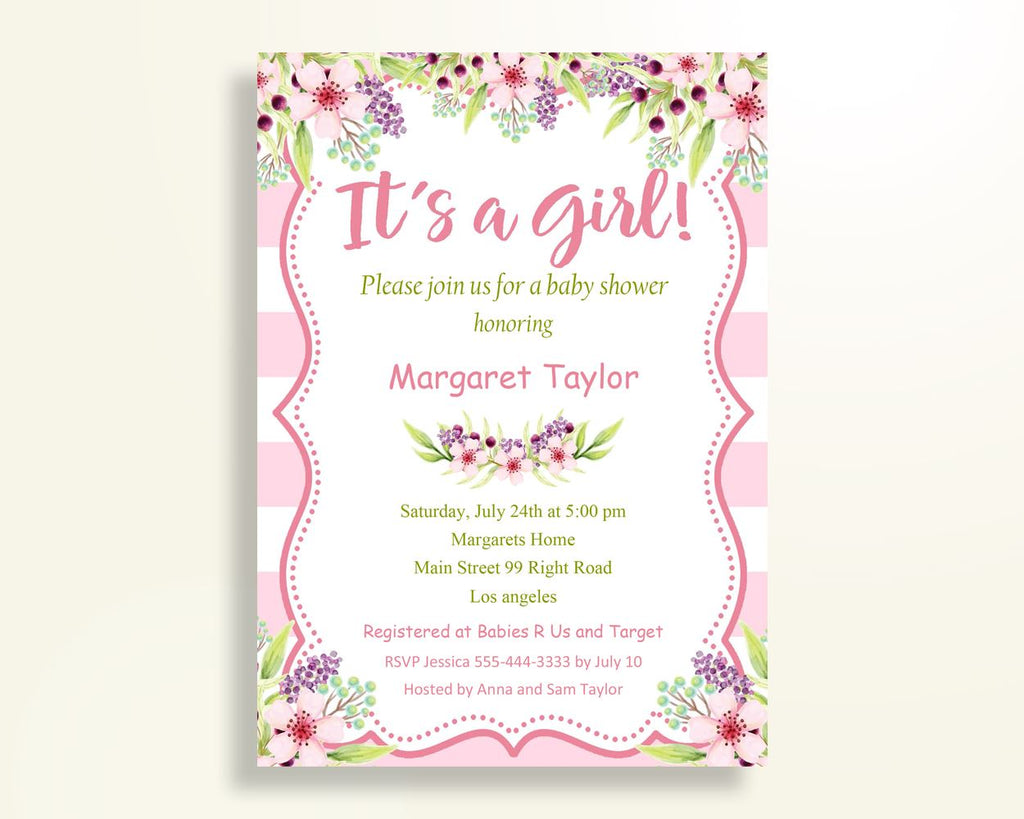 Invitation Baby Shower Invitation Pink Baby Shower Invitation Baby Shower Flowers Invitation Pink Green party plan instant download 5RQAG - Digital Product