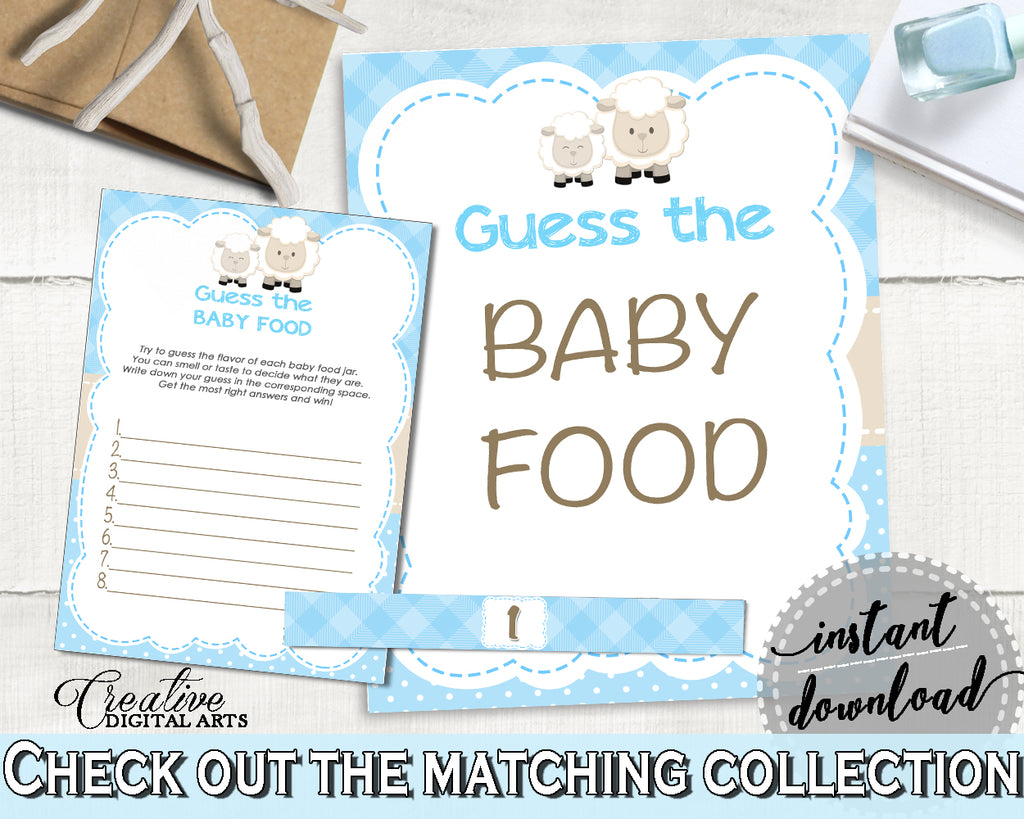 Little Lamb Blue GUESS The BABY FOOD baby shower boy game blue theme sheep printable, digital files, Jpg Pdf, instant download - fa001