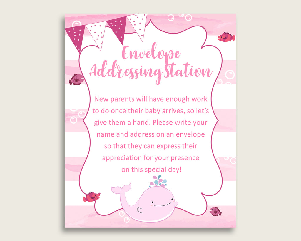 Pink White Baby Shower Address Sign Printable, Pink Whale Envelope Station Sign, Envelope Addressing Baby Shower Girl, Popular wbl02