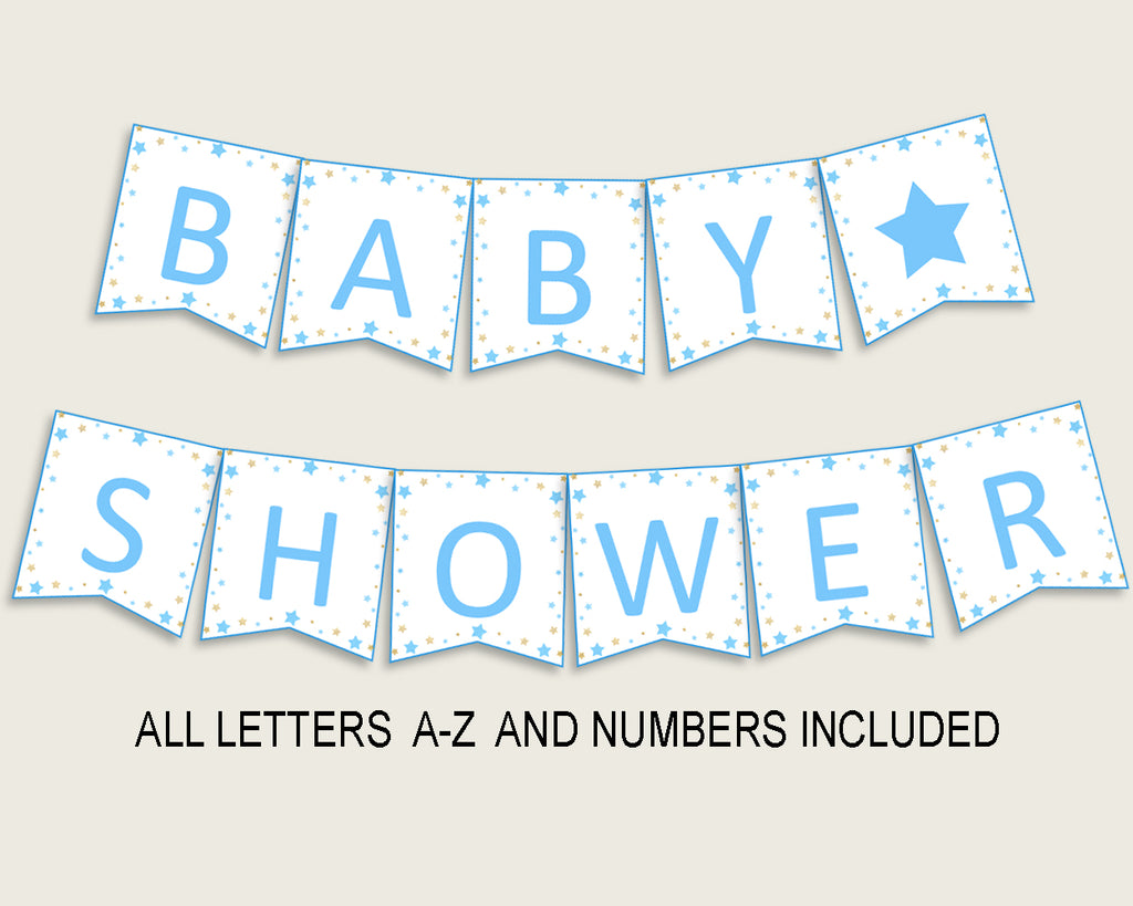Stars Baby Shower Banner All Letters, Birthday Party Banner Printable A-Z, Blue Gold Banner Decoration Letters Boy, Moon Glitter Stars bsr01