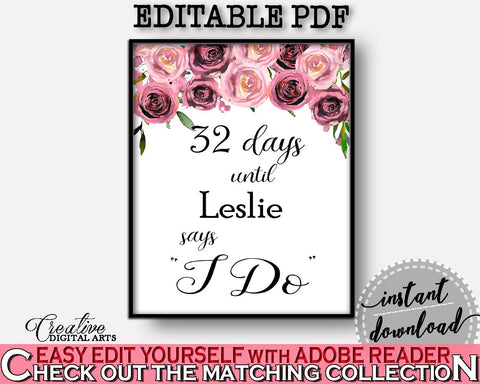 Days Until I Do Bridal Shower Days Until I Do Floral Bridal Shower Days Until I Do Bridal Shower Floral Days Until I Do Pink Purple - BQ24C - Digital Product