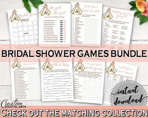 Games Bridal Shower Games Tribal Bridal Shower Games Bridal Shower Tribal Games Pink Brown printables, prints, digital print - 9ENSG - Digital Product