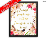 Heart Floral Print, Beautiful Wall Art with Frame and Canvas options available  Decor