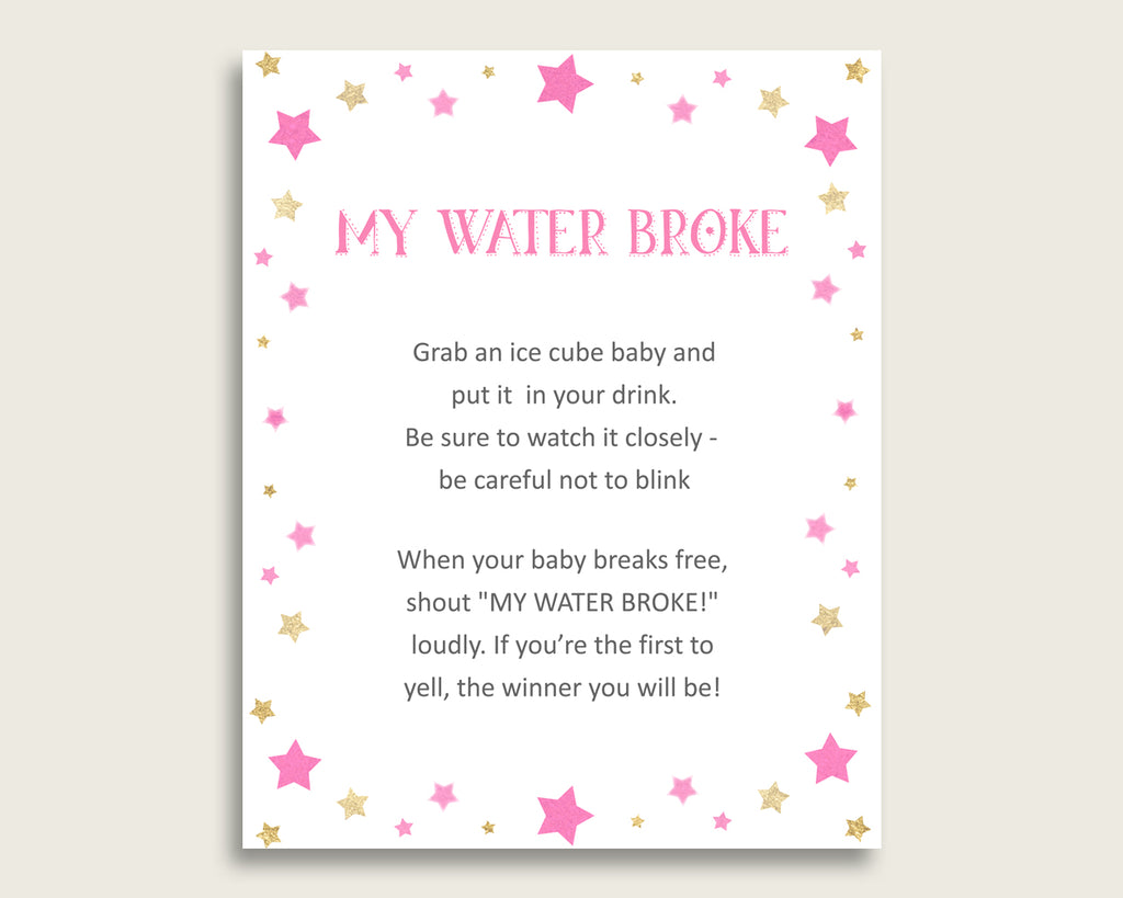 Twinkle Star Baby Shower My Water Broke Game Printable, Pink Gold Ice Cube Babies Game, Girl Baby Shower Frozen Babies Game Sign 8x10 bsg01
