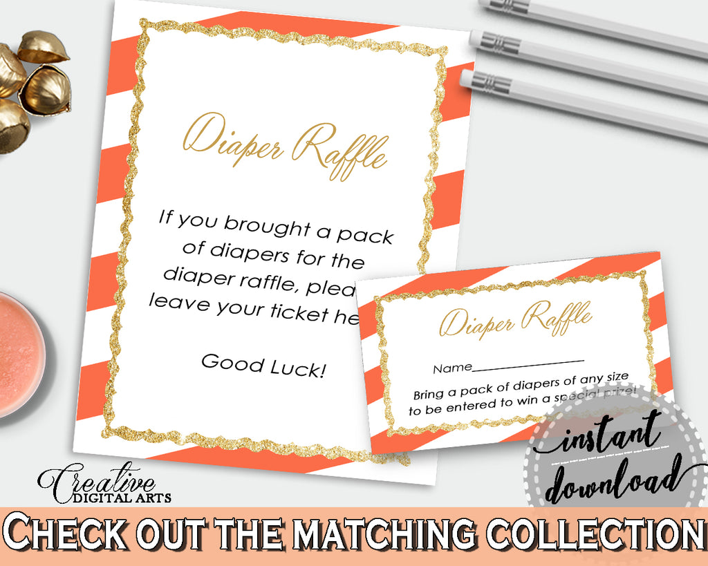 Orange Baby shower DIAPER RAFFLE inserts printable with glitter gold and orange stripes theme, digital Jpg Pdf, instant download - bs003