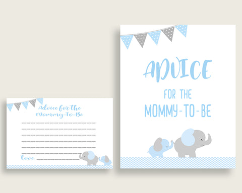 Advice Cards Baby Shower Advice Cards Elephant Baby Shower Advice Cards Blue Grey Baby Shower Elephant Advice Cards Baby Shower Blue ebl02