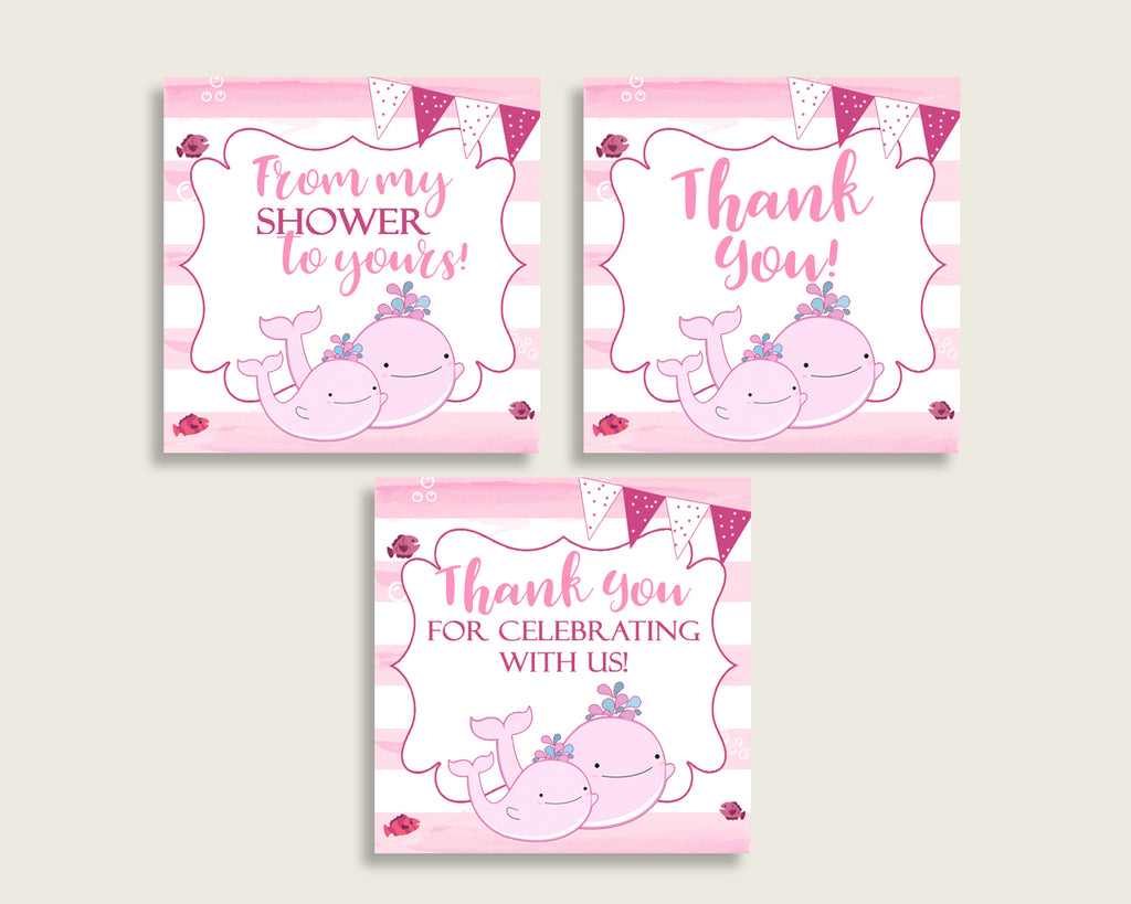 Thank You Tags Baby Shower Thank You Tags Pink Whale Baby Shower Thank You Tags Baby Shower Pink Whale Thank You Tags Pink White wbl02