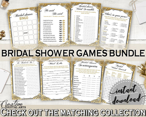 Games Bundle in Glittering Gold Bridal Shower Gold And Yellow Theme, he said she said, aureate shower, party decorations, party plan - JTD7P - Digital Product