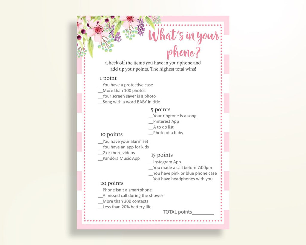 What's In Your Phone Baby Shower What's In Your Phone Pink Baby Shower What's In Your Phone Baby Shower Flowers What's In Your Phone 5RQAG - Digital Product