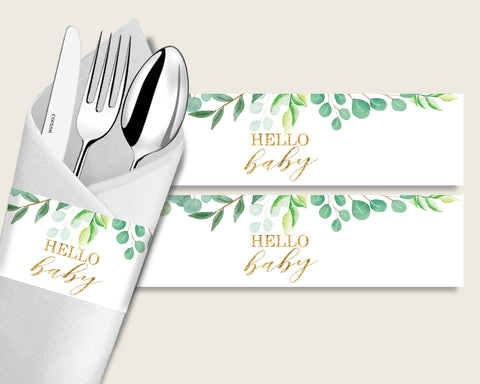 Greenery Baby Shower Napkin Rings Printable, Green Gold Napkin Wrappers, Gender Neutral Shower Utensils Wrap, Instant Download, Y8X33