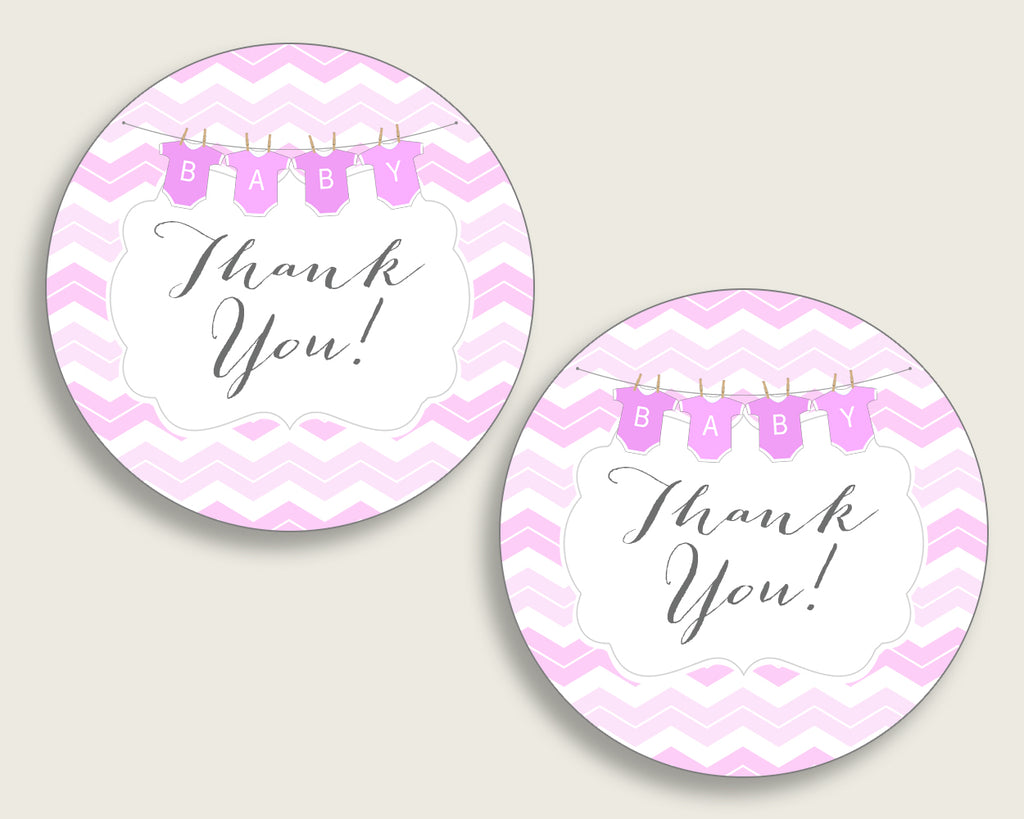Chevron Baby Shower Round Thank You Tags 2 inch Printable, Pink White Favor Gift Tags, Girl Shower Hang Tags Labels, Digital File cp001