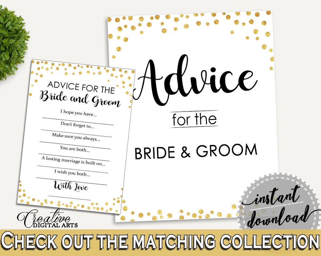 Advice Bridal Shower Advice Confetti Bridal Shower Advice Bridal Shower Confetti Advice Gold White digital print, party supplies CZXE5 - Digital Product