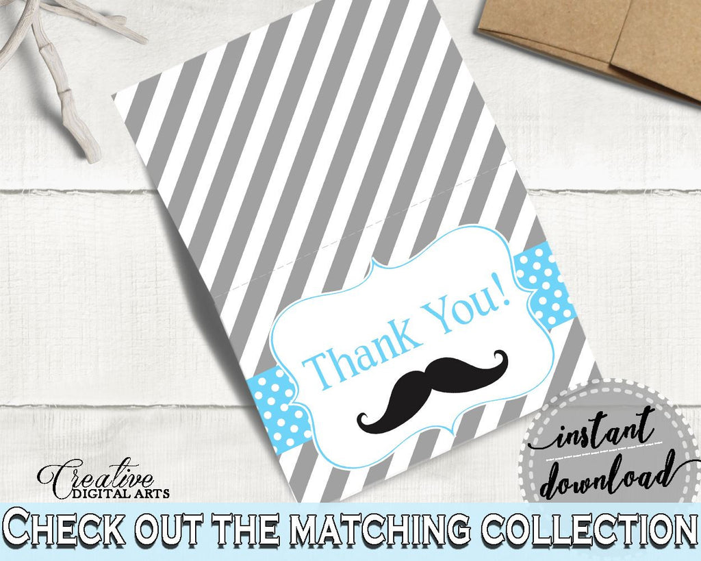Blue Gray Thank You Card Baby Shower Thank You Card Mustache Baby