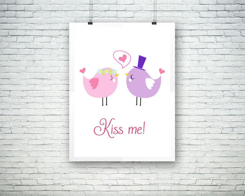 Wall Art Birds Digital Print Kiss Me Poster Art Birds Wall Art Print Kiss Me Love Art Kiss Me Love Print Birds Wall Decor Birds shabby - Digital Download