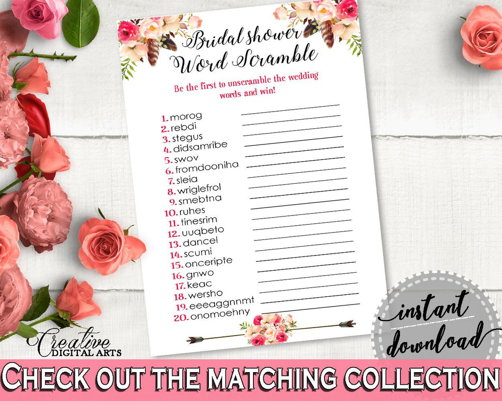 pink and red bohemian flowers bridal shower theme word scramble bridal trivia feathers