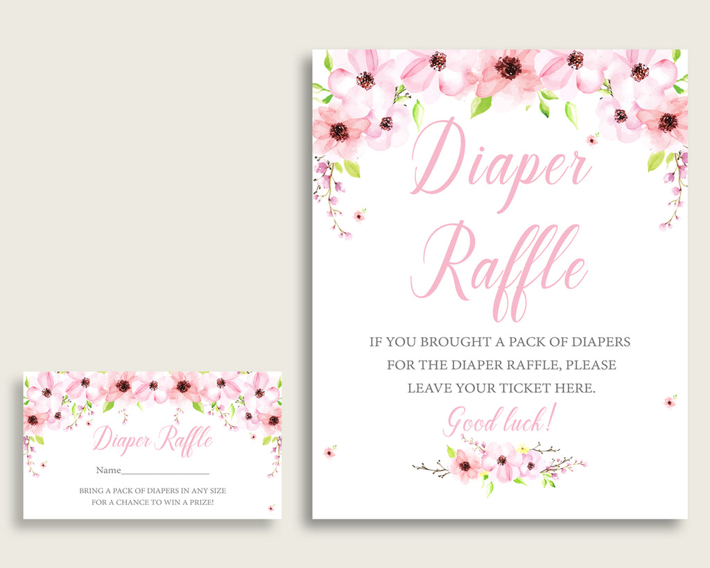 Flower Blush Baby Shower Diaper Raffle Tickets Game, Girl Pink Green Diaper Raffle Card Insert and Sign Printable, Instant Download VH1KL