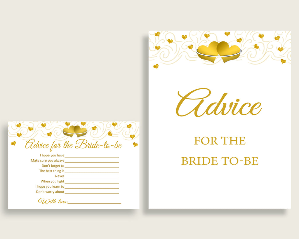 Advice Cards Bridal Shower Advice Cards Gold Hearts Bridal Shower Advice Cards Bridal Shower Gold Hearts Advice Cards White Gold 6GQOT