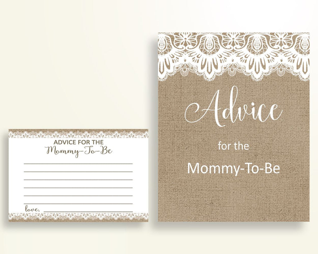 Advice Cards Baby Shower Advice Cards Burlap Lace Baby Shower Advice Cards Baby Shower Burlap Lace Advice Cards Brown White pdf jpg W1A9S - Digital Product