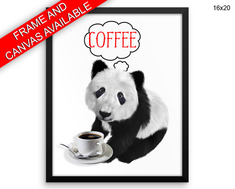 Panda Coffee Print, Beautiful Wall Art with Frame and Canvas options available Bar Decor