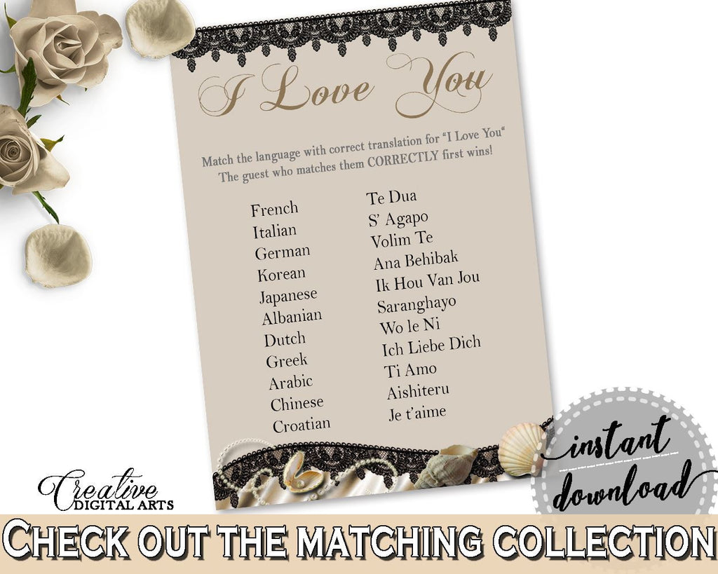Brown And Beige Seashells And Pearls Bridal Shower Theme: I Love You Game - multilanguage game, bridal shower style, party plan - 65924 - Digital Product