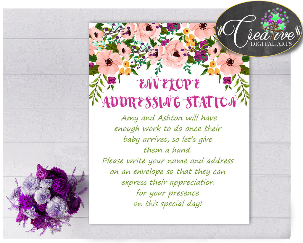 ENVELOPE ADDRESSING STATION baby shower girl sign watercolor flowers pink theme, digital file Jpg Pdf, instant download - flp01