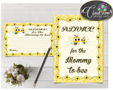 Advice For The Mommy To Be and Advice For The New Parents baby shower activities with yellow bee theme, instant download - bee01