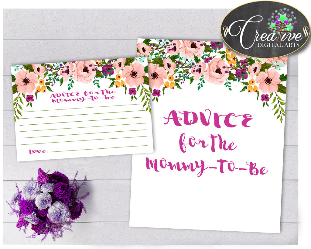 Floral Advice For The Mommy To Be and Advice For The New Parents baby shower activities flower pink theme, Jpg Pdf, instant download - flp01