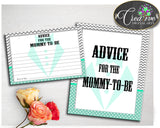 Advice For Mommy To Be and Advice For The New Parents little man baby boy shower gentleman activities mint gray, instant download - lm001