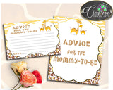 Advice For Mommy To Be and Advice For The New Parents giraffe baby shower boy or girl theme printable, Jpg Pdf, instant download - sa001