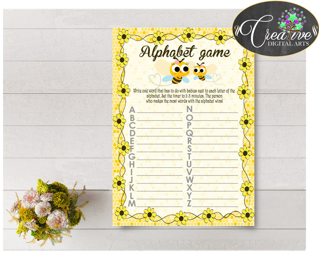 Baby Shower ABC's game with yellow bee theme, digital file, instant download - bee01