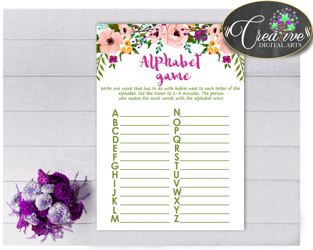 Baby Shower Girl Watercolor Flowers ALPHABET game with floral pink theme printable, digital file, Jpg and Pdf, instant download - flp01