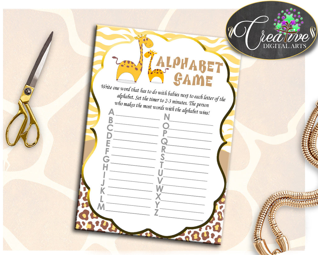Giraffe Baby Shower Boy or Girl ALPHABET game in yellow brown theme printable, digital file, diy, jpg and pdf, instant download - sa001