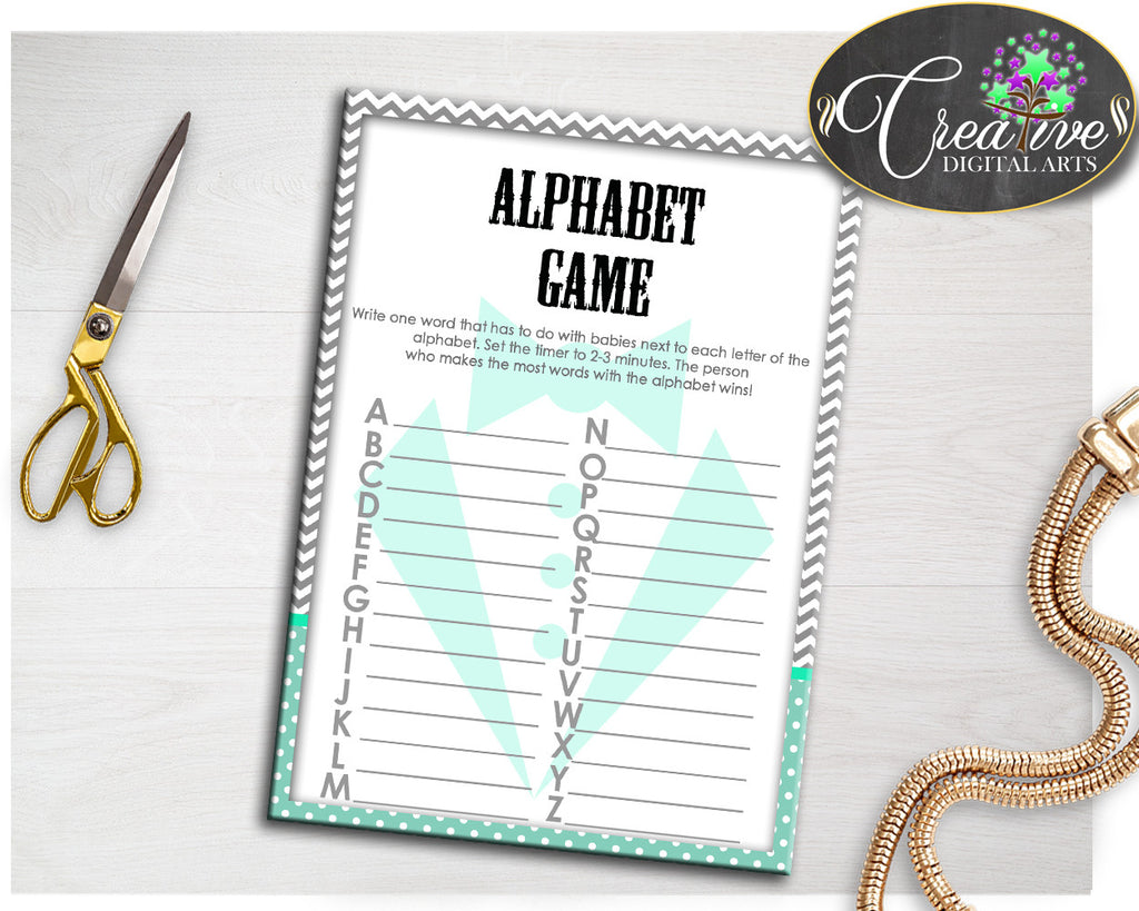 Baby Shower Little Man Gentleman ALPHABET game with mint green and gray theme printable, digital file jpg and pdf, instant download - lm001