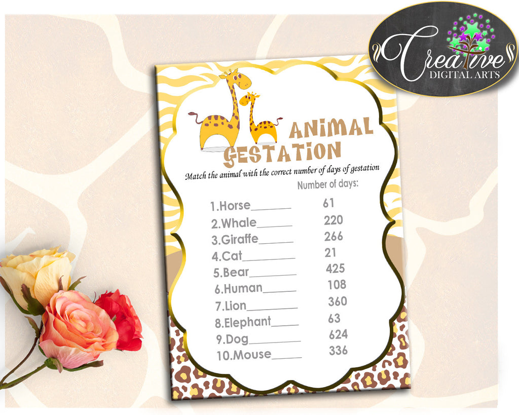Giraffe Baby Shower Boy or Girl ANIMAL GESTATION game with brown yellow theme, digital files pdf jpg, instant download - sa001