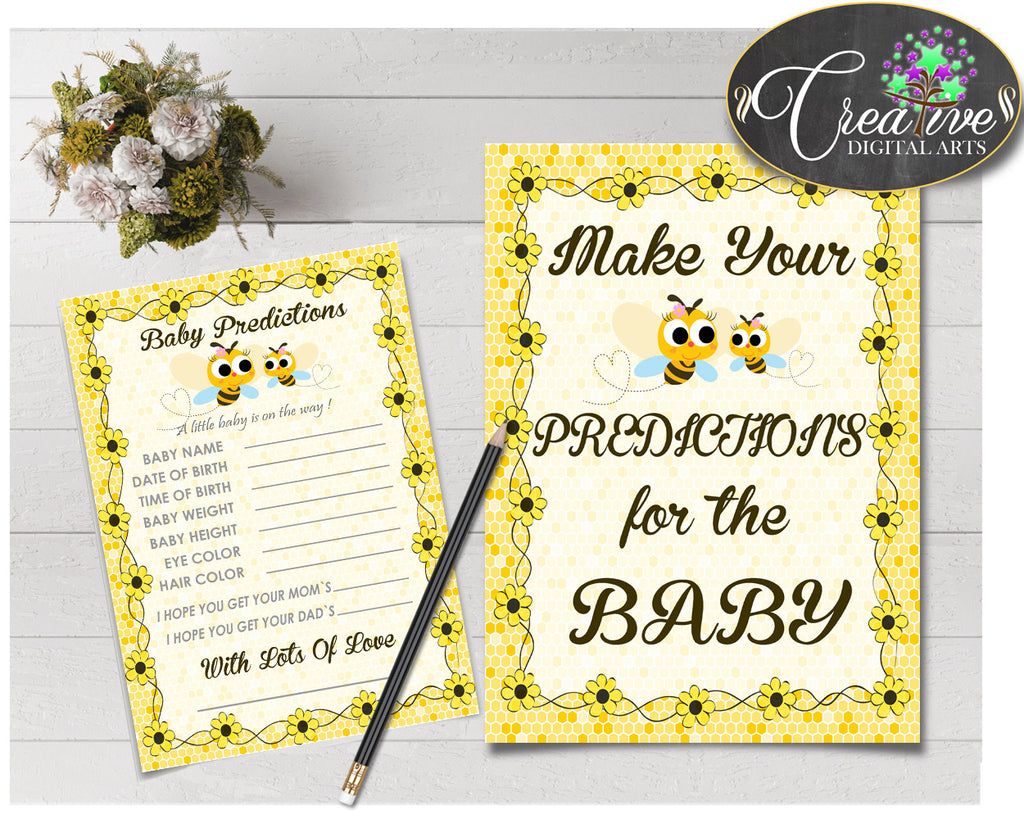 Baby PREDICTIONS sign and cards activity printable for baby shower with yellow bee theme, instant download - bee01