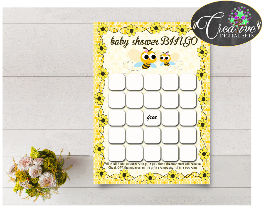 Baby Shower printable BINGO GIFT cards game with yellow honey bee, digital files Jpg Pdf, instant download - bee01