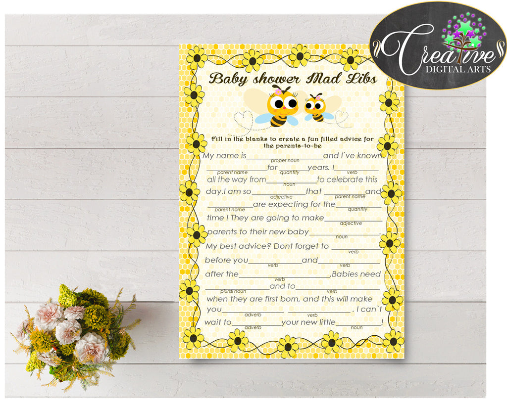 MAD LIBS baby shower game with yellow bee and honey printable, digital files Jpg and Pdf, instant download - bee01