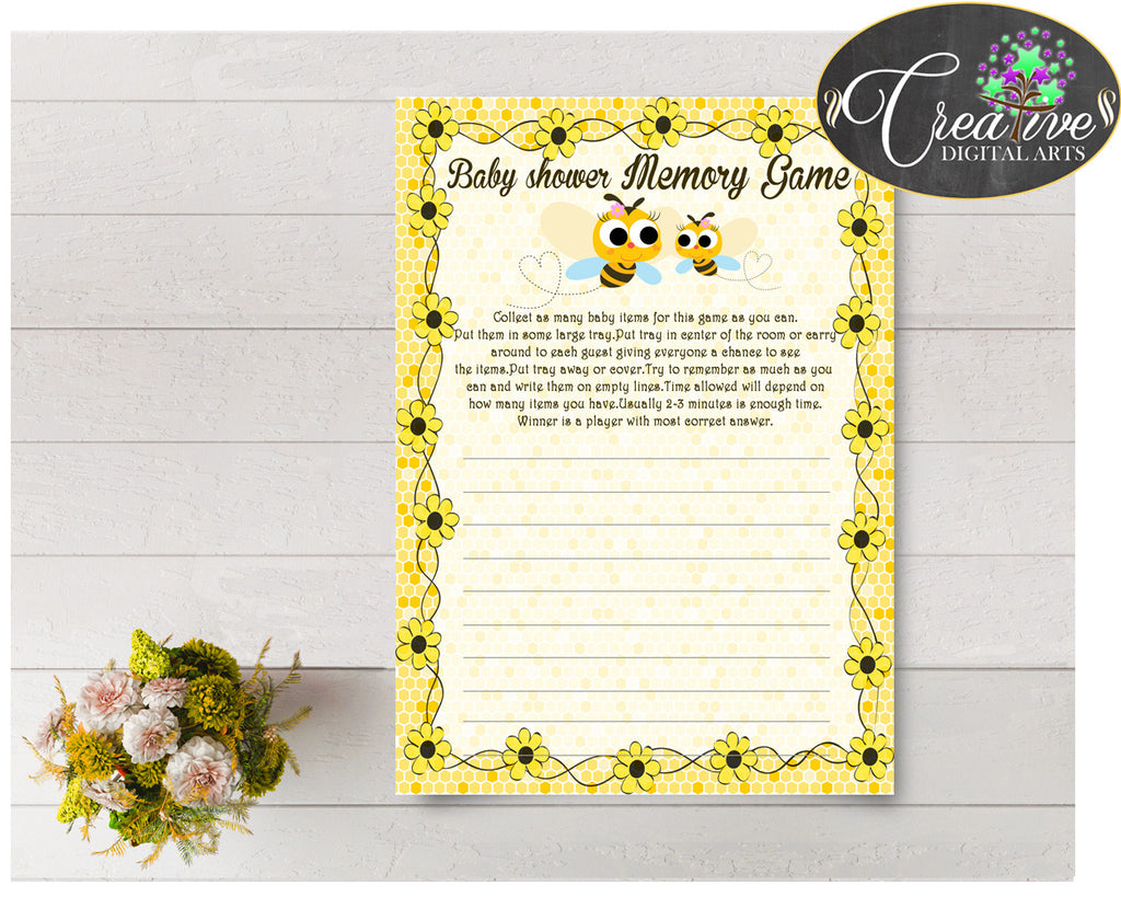 Baby Shower MEMORY game with yellow bee printable, digital file, instant download - bee01
