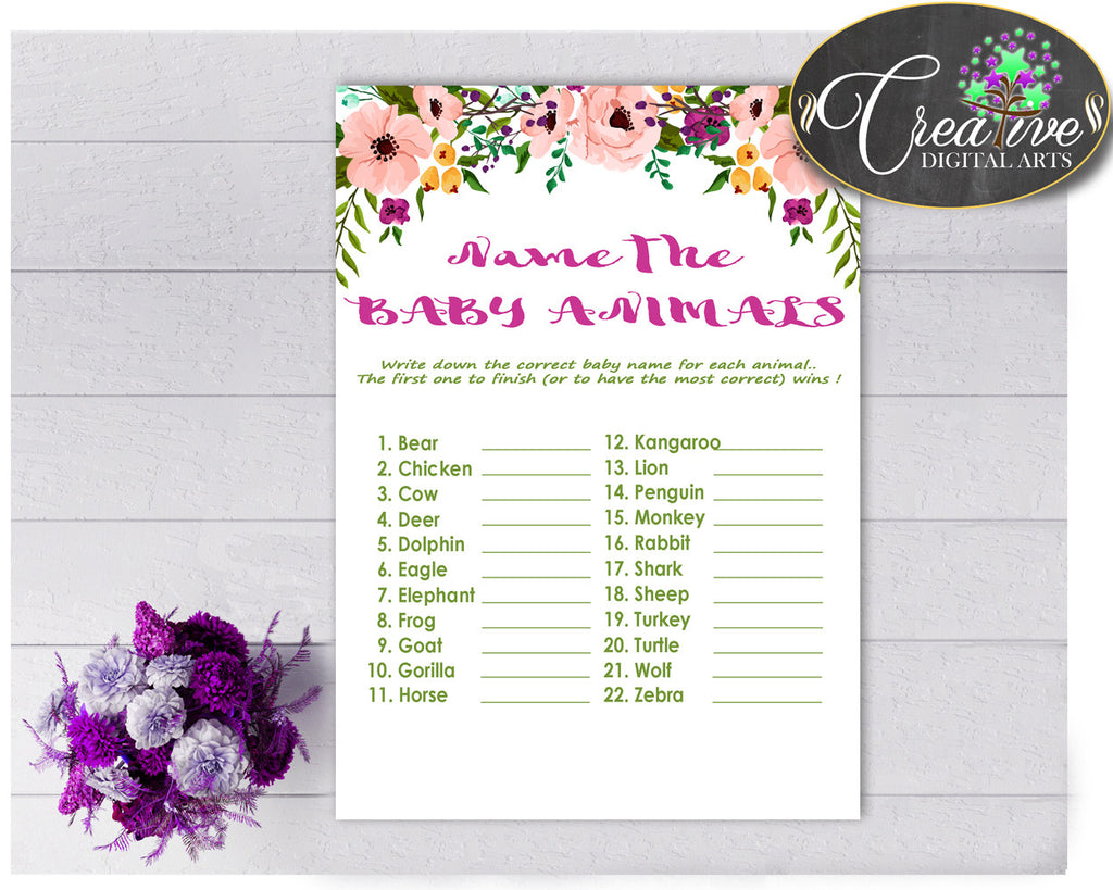 NAME The BABY ANIMALS floral baby shower girl game watercolor flowers theme printable, Jpg Pdf, instant download - flp01