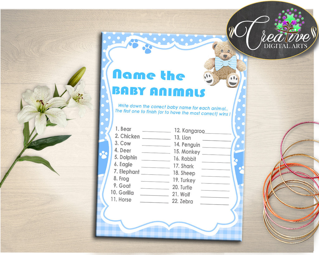Teddy Bear Baby Shower Name The Baby Animals Baby Shower Game