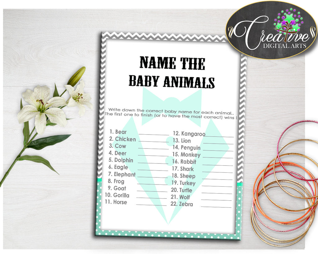 Baby Gentleman NAME The BABY ANIMALS little man baby boy shower game with mint green and gray printable, Jpg Pdf, instant download - lm001