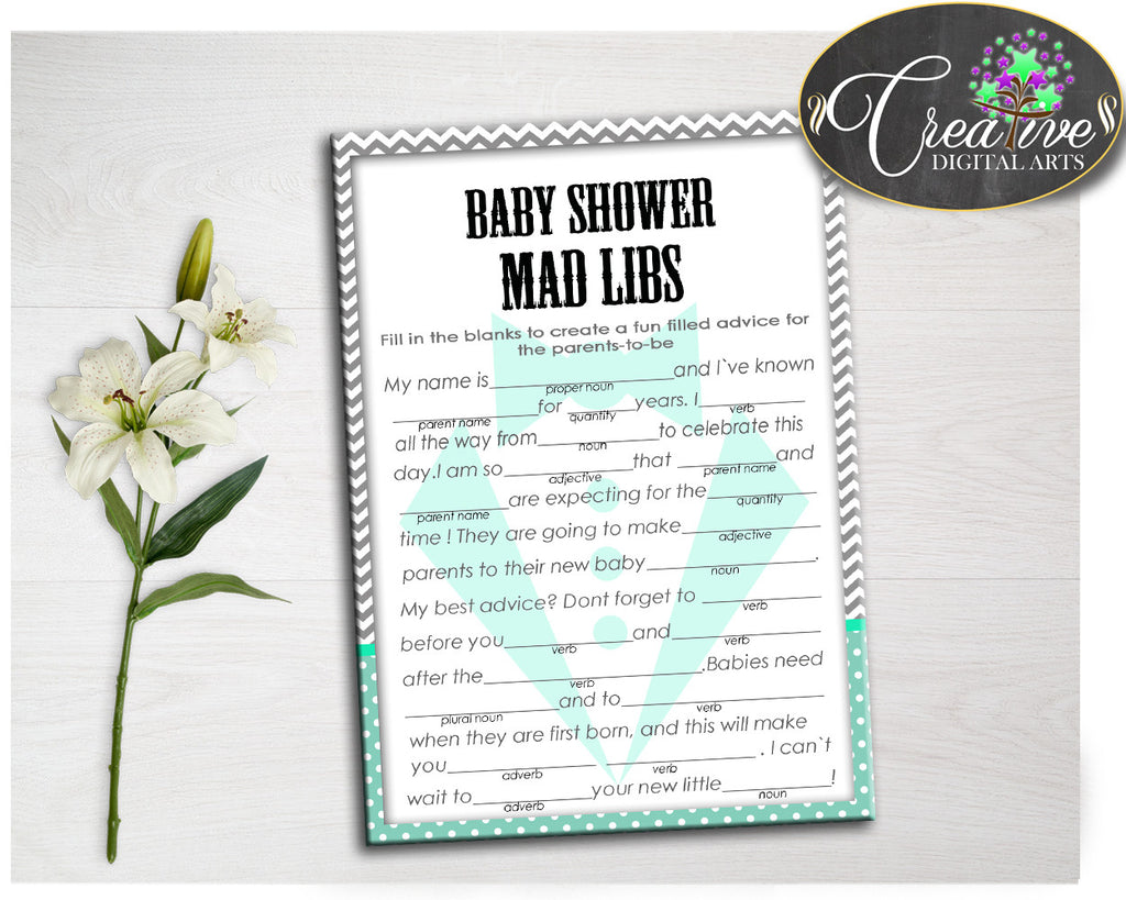 Mint Green Gray MAD LIBS little man gentleman baby shower boy game suit printable activity, digital files Jpg Pdf, instant download - lm001