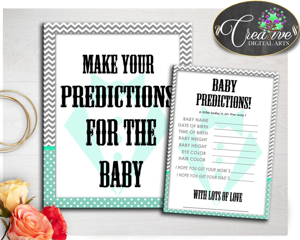 PREDICTIONS FOR BABY little man gentleman sign and cards activity printable for baby boy shower in mint green gray, instant download - lm001