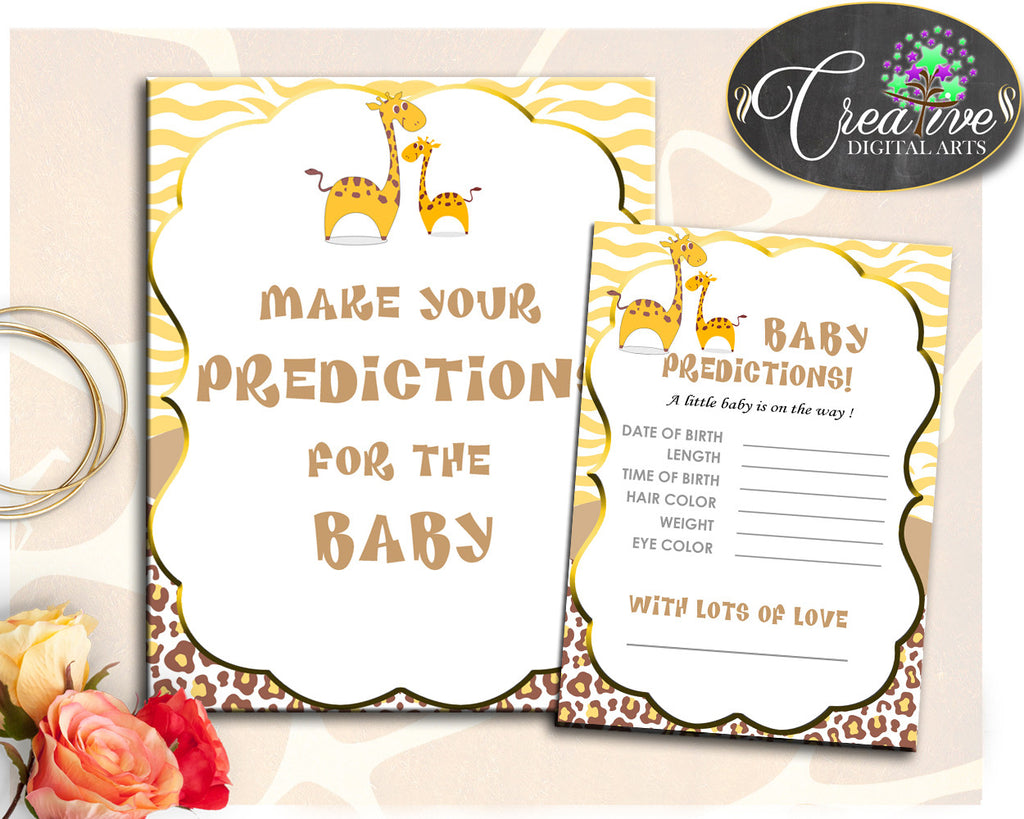 PREDICTIONS FOR BABY giraffe baby shower sign and cards activity printable theme for boy or girl, digital files, instant download - sa001