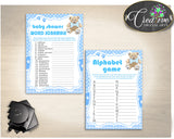 Teddy Bear Baby Shower Games Package, 8 Printable Blue Games, Baby Shower Games Printable, Baby Shower Boy - Instant Download - tb001