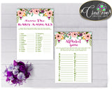 Baby Shower Girl Floral games package bundle printable watercolor flowers pink theme, 8 games pack, jpg and pdf - Instant Download - flp01