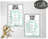 Baby Shower Little Man games gentleman package bundle printable with mint green gray color theme, 8 games pack - Instant Download - lm001
