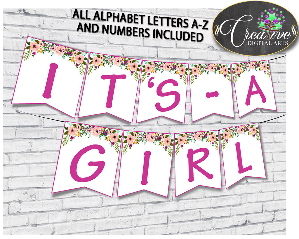Baby shower girl Watercolor Flowers BANNER all letters decoration printable in floral pink theme, digital files, instant download - flp01