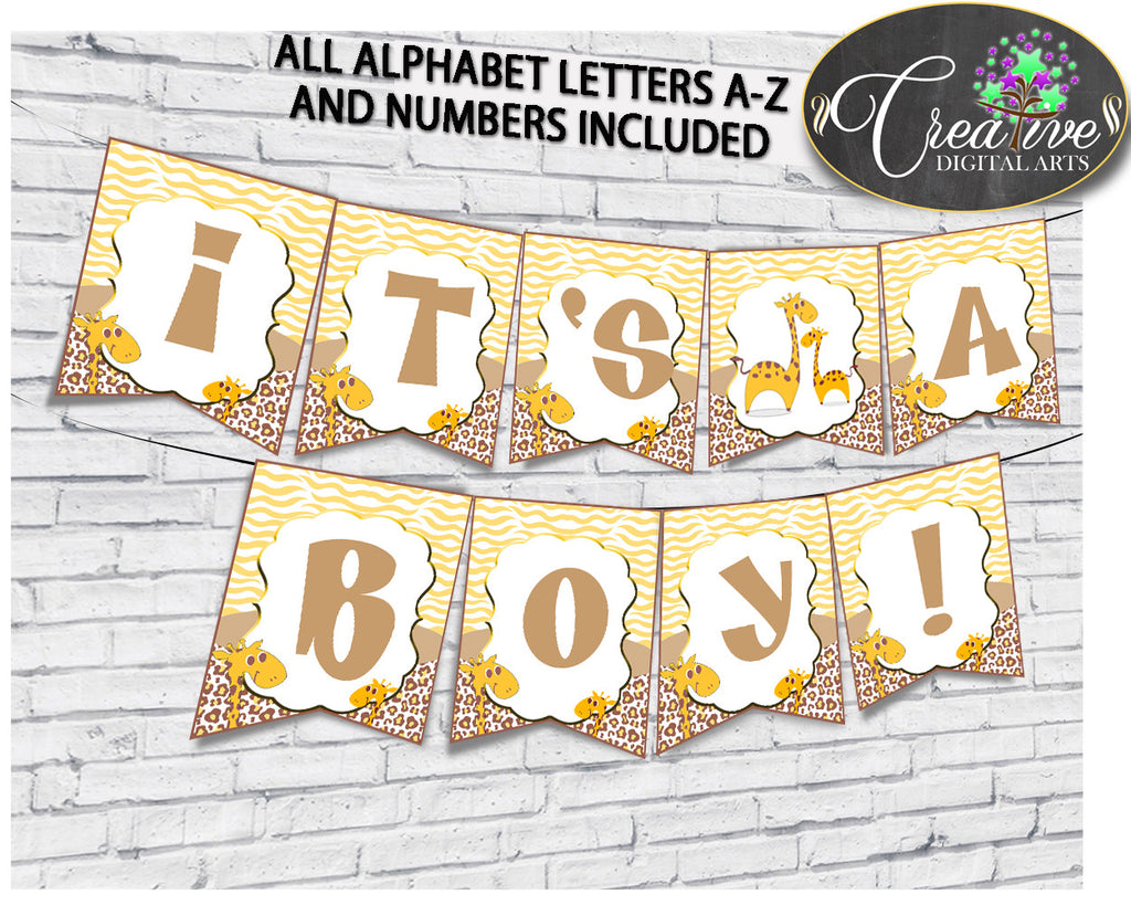 Giraffe Baby Shower BANNER all letters, boy or girl shower banner brown yellow printable theme, digital file, instant download - sa001